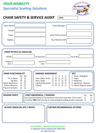 Chair Safety & Service Audit form